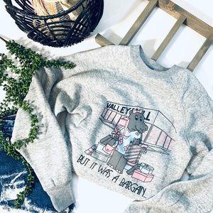 Vintage hippo pullover crew neck sweatshirt